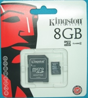 Карта памяти MicroSDHC 8Gb Class 4+SD адаптер