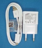 Сетевая зарядка Samsung I9100/S5830/i9300 с кабелем micro USB белая